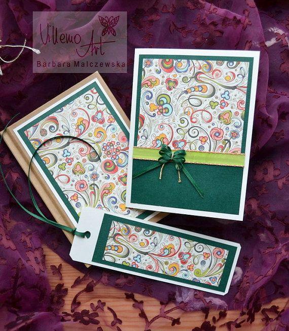 Handmade 3 pieces BIRTHDAY Gift Set  Notebook Card by villemoart