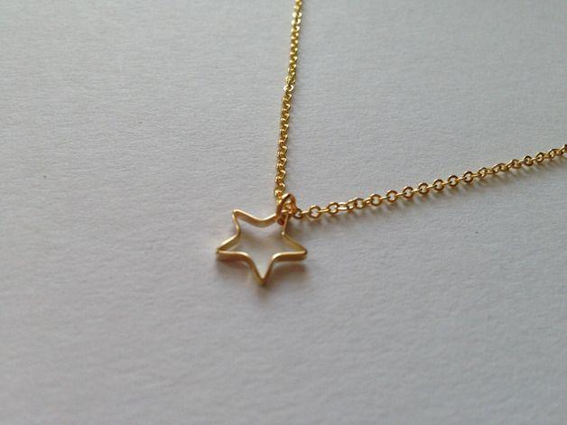 Vergoldete Ketten - Vergoldete Kette mit Stern - ein Designerstück von ella_schmuckmanufaktur bei DaWanda