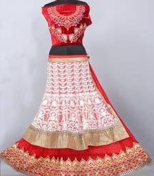 Buy Red net embroidered unstitched lehenga-choli lehenga-choli online