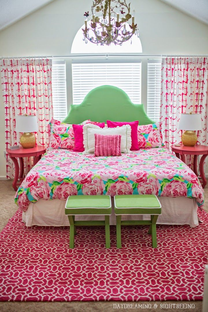 Lilly Pulitzer First Impression Bedding -  roses bedroom green pink aqua turquoise