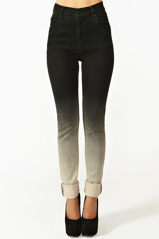 "4pts repeat    Ombre Skinny Jeans: Ombre- Ombre is the graduation of color in a garment, like when a fabric is very dark at one end and gradually lightens. Skinny Jeans: Slim-fit pants or skinny jeans have a snug fit through the legs and end in a small leg opening that can be anywhere from 9"" to 20"" depending on size.   (Jeslyn Lau FMM1B2)"