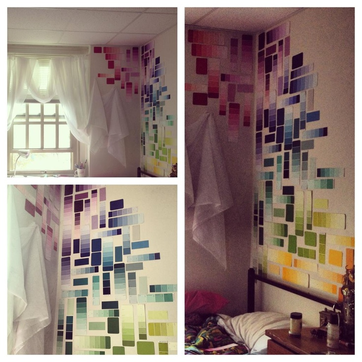 Diy paint sample decorating ma dorm room yay dorm room - Dorm wall decor ideas ...
