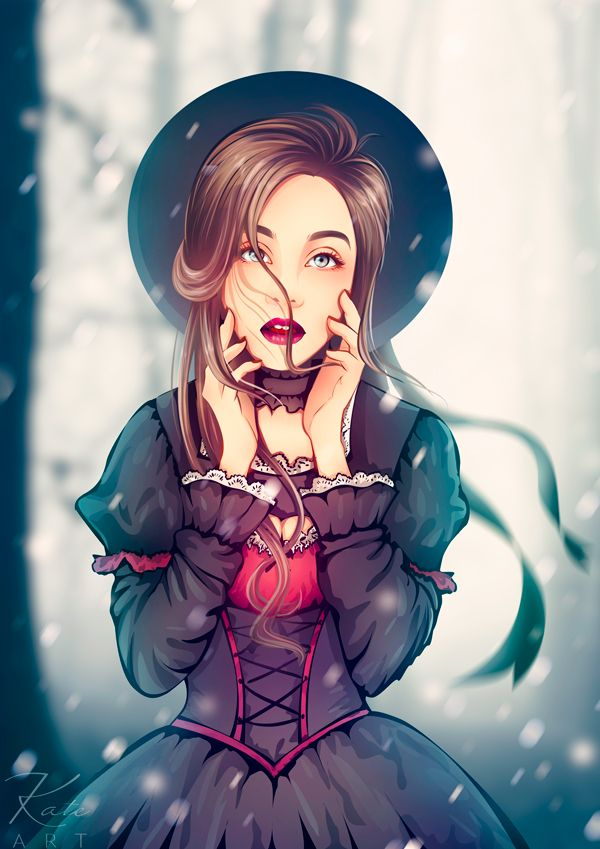By Katerina Podolskaya drawing, portrait, girl, art, digital art, gothic, lolita, winter / рисунок, портрет, девушка, диджитал арт