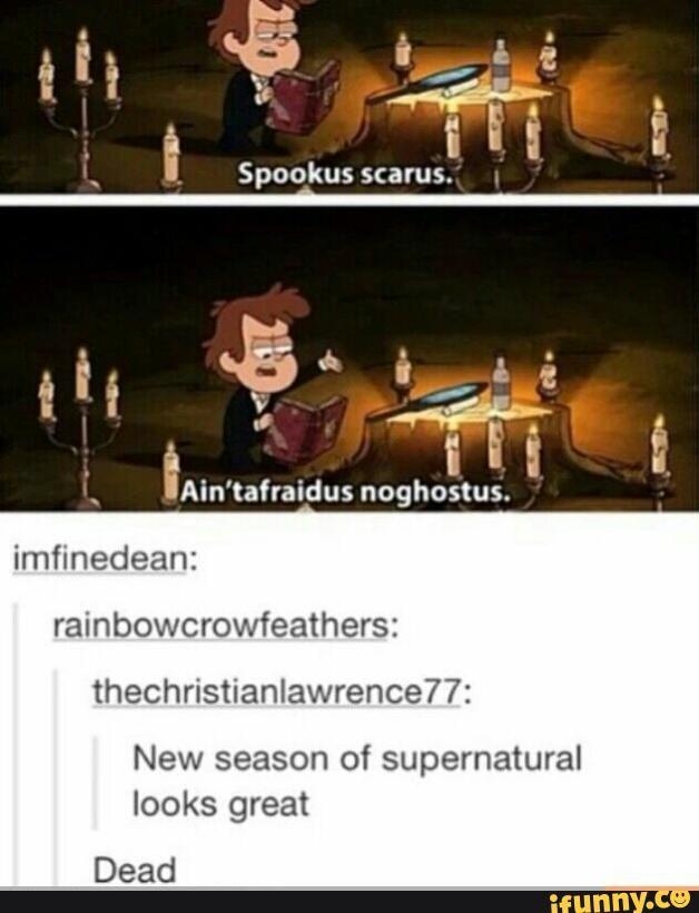 tumblr, supernatural, gravityfalls spookus scarus. Ain'tafriadus noghostus New season of Supernatural looks great dead