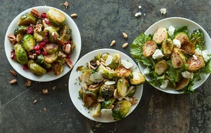 Cranberry Pecan Brussels Sprouts - Roast halved Brussels Sprouts - 400 degrees for 30 to 35 minutes. During the last 5 minutes of roasting, add 1 cup dried cranberries and 1/4 cup pecan pieces.