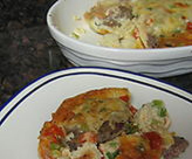 Sausage, Artichoke & Goat Cheese Egg Bake Recipe — Dishmaps