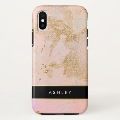 Glam Stylish Blush Pink Black and Faux Gold iPhone X Case - girly gift gifts ideas cyo diy special unique