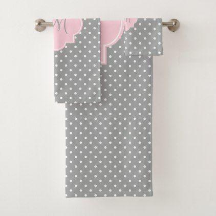 Monogram Grey White and Pastel Pink Polka Dot Bath Towel Set - monogram gifts unique custom diy personalize