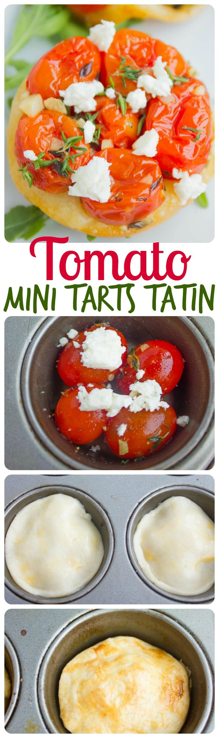 Tomato Tarts Tatin. An easy impressive appetizer that looks like you spent all day making it! Get this crowd pleaser step by step easy recipe! www.twopurplefigs.com