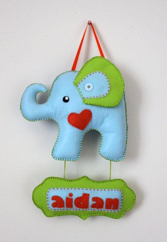 "Felt Door Name Sign - Felt Elephant Door Sign - Nursery Decoration - ""its a boy"" baby shower sign:"