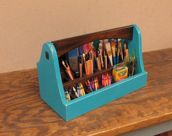 Professional Art Supply Box Blue Art Caddy Crayon Caddy