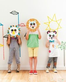 """Kids will love transforming into playful animals with these masks made from paper plates! Reprinted with permission from """"Playful: Fun Projects to Make With + For Kids,"""" © 2014 by Merrilee Liddiard, Stewart, Tabori & Chang, an imprint of Abrams Books. Photography by Nicole Hill Gerulat."""