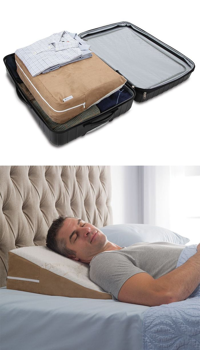 The Traveler's Sleep Improving Wedge Pillow - This is the traveler's wedge pillow that helps to provide relief from heartburn, sinus congestion, and snoring yet fits in a suitcase. Available only from Hammacher Schlemmer, the gently sloped pillow remains level with the bed to maintain comfort and gently elevates sleepers, helping to avoid positions that can contribute to acid reflux and other digestive problems.
