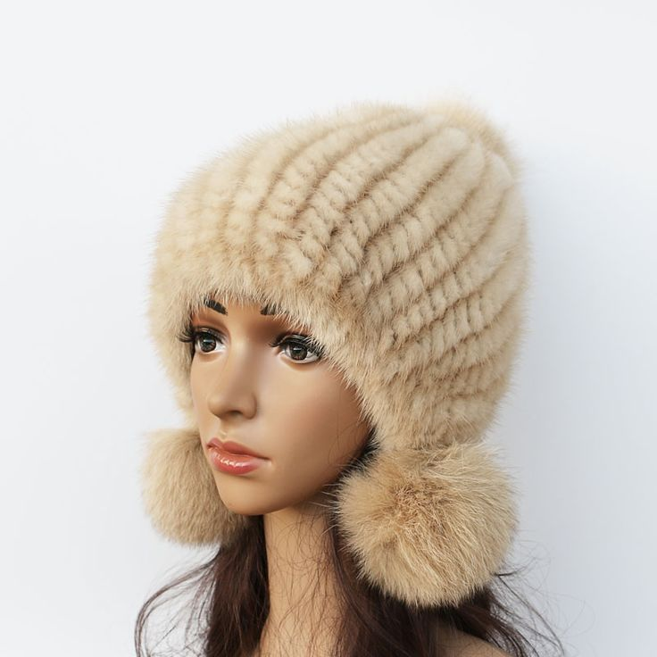2016 Nieuwe nertsen hoed Dames mode vossenbont bal bontmuts Mink knit hoeden Casual nertsen hoed Vrouwelijke Hoofddeksels