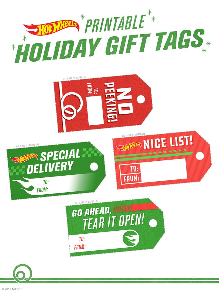 All wrapped up and ready to roll! These printable holiday tags will give your gifts that extra spark. | Hot Wheels