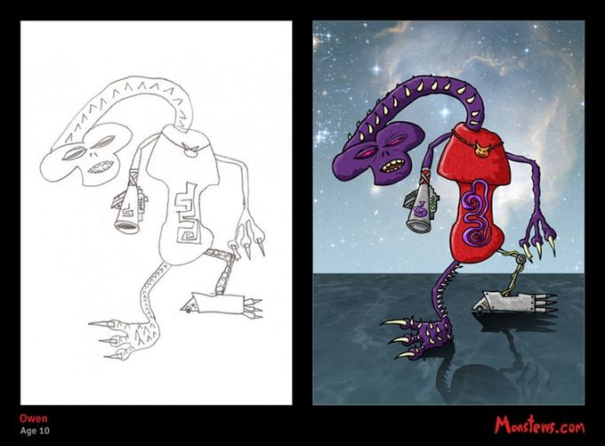 "Kids art originally drawn  by Owen, Age 10. Re-worked and coloured by Stew. Owen said ""they should be called 'Monstews' because it's your name and they're monsters. Hence, Monstews was born. Get a Monstew of your kid's drawing. Kickstarting until 17th September 2017."