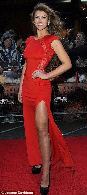 Amy Willerton and TFNC Soledo Maxi Lace Back Dress / Coolspotters