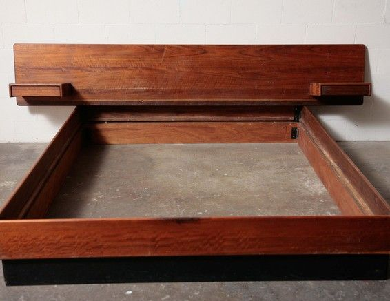 mid century modern solid teak king sized platform bed