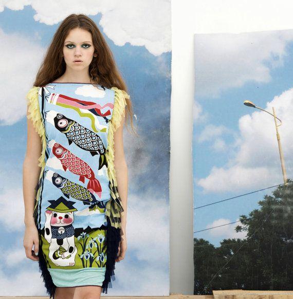 50% OMBRE manekineko dress japan lucky CAT print blue cloud fish sheath summer dress tulle  haute couture applique thight maneki neko kawaii