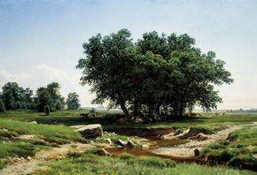 Деревья, природа, трава, небо, арт, живопись