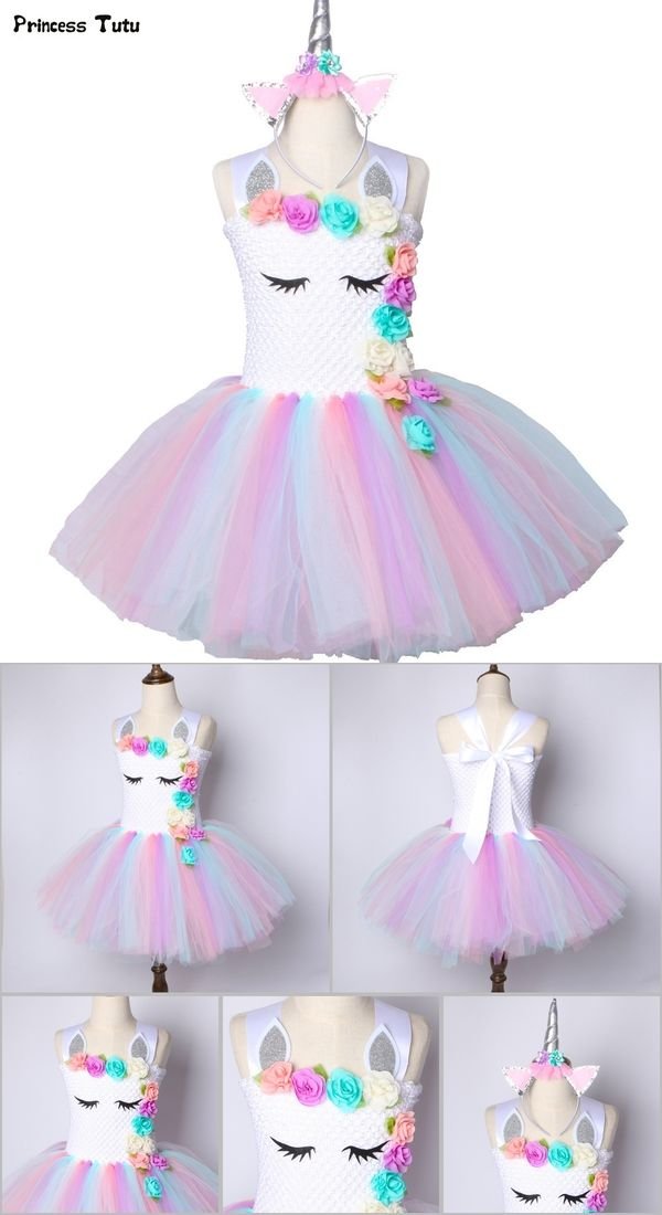 7594fc6ebaf34 Flower Girls Unicorn Tutu Dress Pastel Rainbow Princess Girls ...