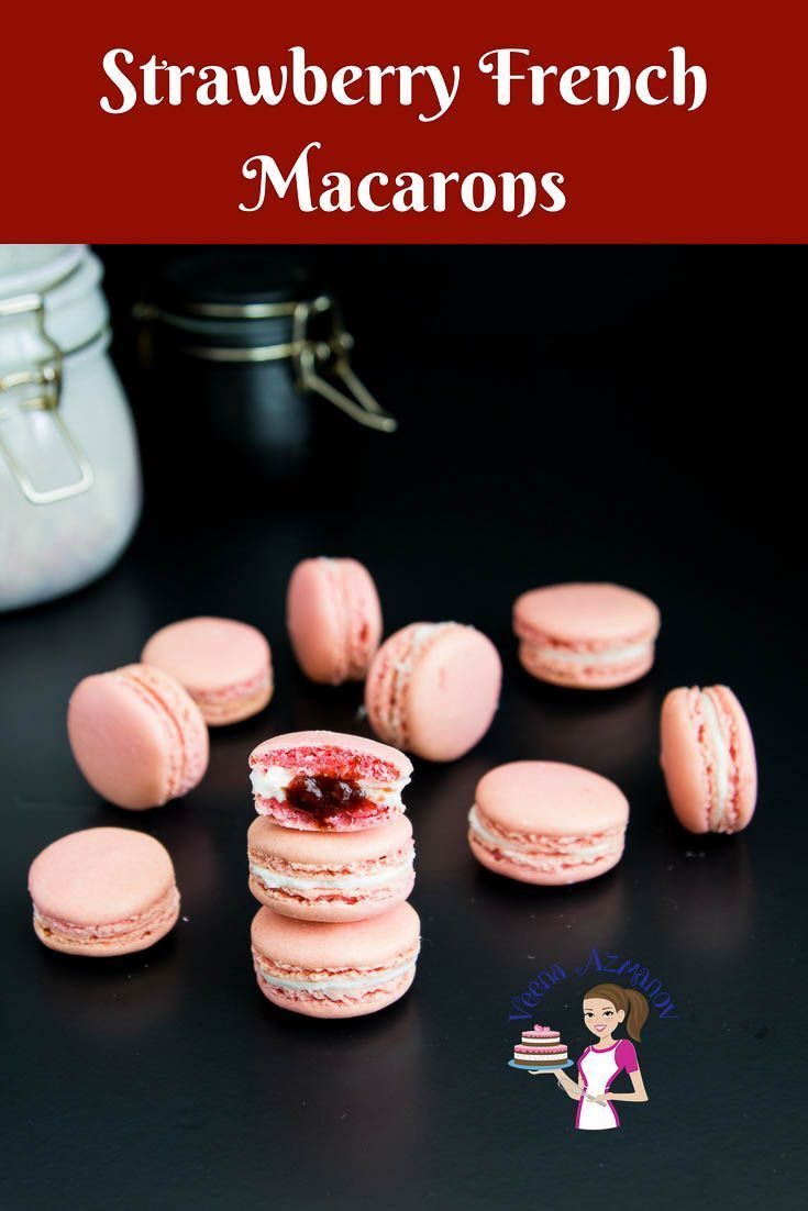 These strawberry French macarons are light meringue-based cookies that will melt…