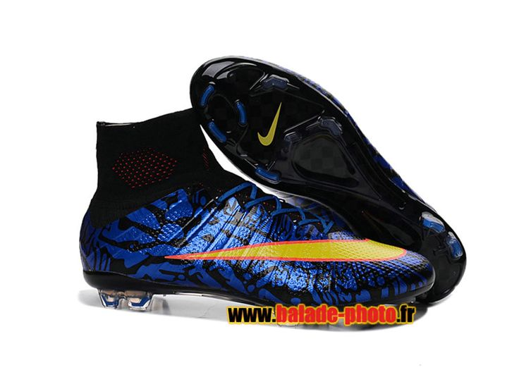 2016 Chaussures de football Nike Mercurial Superfly FG bleu noir jaune 5857