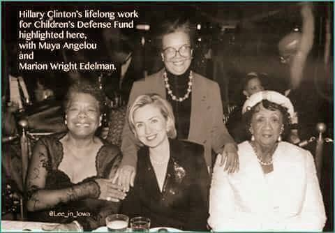 HIllary Clinton with Maya Angelou, Marion Wright Edelman & Dorothy Height. HRC has been working for women & children of every race, color & creed her entire adult life. #HillaryWomen #ImWithHer #Hillary