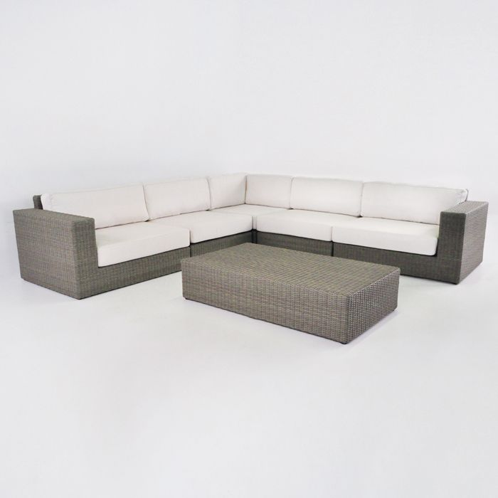 outdoor wicker furniture with sunbrella cushions. the beautiful and linear, contemporary outdoor wicker furniture collection called austin, in kubu color (grey with earth tones) by teak warehouse. sunbrella cushions t