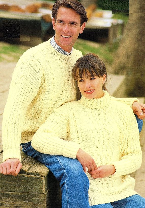 His & Hers Aran Jumper With Round Neck Or Polo Collar