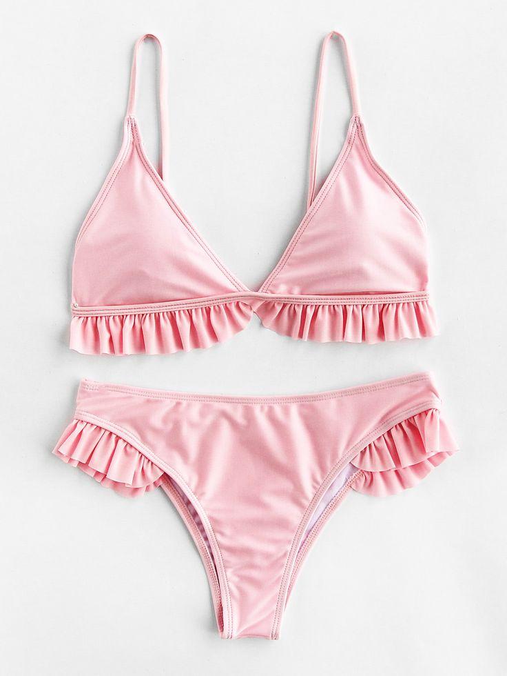 ¡Cómpralo ya!. Ruffle Trim Triangle Bikini Set. Pink Bikinis Cute Sexy Vacation Triangle Polyamide YES Swimwear. , bikini, bikini, biquini, conjuntosdebikinis, twopiece, bikini, bikini, bikini, bikini, bikinis. Bikini de mujer de SheIn.