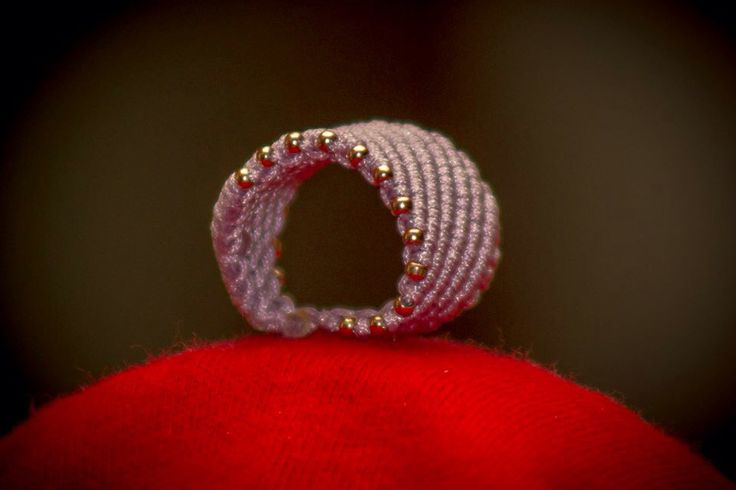 Macrame ring with gold details by CrochetGrace! Find it at Etsy.com