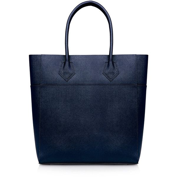 Rebecca Minkoff Adeline Midnight Blue Leather Tote Bag (€140) ❤ liked on Polyvore featuring bags, handbags, tote bags, navy, navy blue leather tote, rebecca minkoff tote, leather tote, leather tote bags and leather handbags