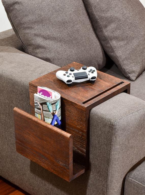 Divano Multifunzione Bracciolo Tavolo Vassoio Di Resto Del Etsy Couch Arm Table Wood Arms Wood Projects