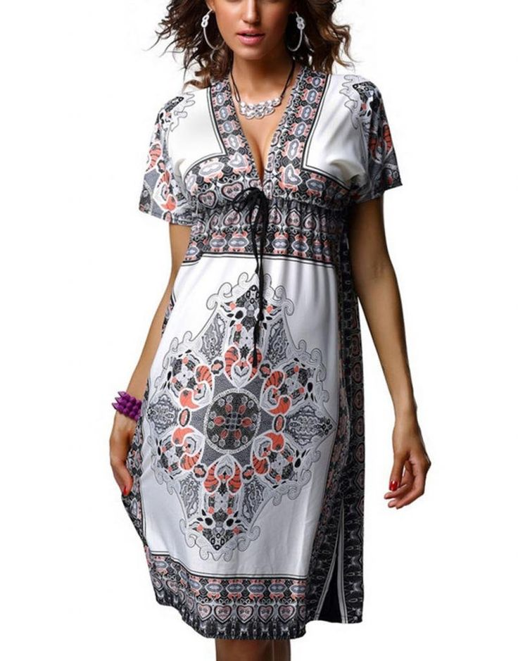 WellMiss Femme Sexy V-Col robe de plage grande taille Robe ...