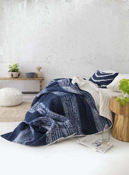Indigo Shibori Bedspread / Quilt