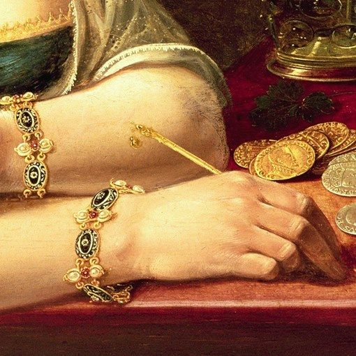 Particolari di opere 3. Clara Peeters: Vanitas con ritratto di lady (forse autoritratto). Olio su tavola, del 1613.20. Cm 37.2 X 50.2. Collezione privata, Londra. Dalla fattura complessa i bracciali gemelli in oro, perle, smalti: per tutto il XVI e XVII secolo si indossano bracciali uguali su entrambe le braccia, ne abbiamo innumerevoli testimonianze nei dipinti di quei secoli. Il dipinto è un monito, allude all'eccessiva ricerca dell'uomo della ricchezza e dei piaceri nella vita terrena.