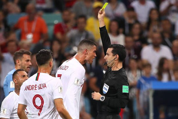 Cristiano Ronaldo Of Portugal Is Shown A Yellow Card By Referee Cesar Ramos During The 2018 Fifa World Cup Russia Round Of 16 Ma Cristiano Ronaldo Ronaldo Fifa