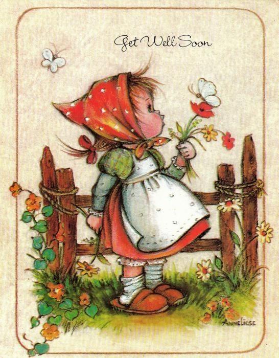 Девочке, открытка с днем рождения в старом стиле