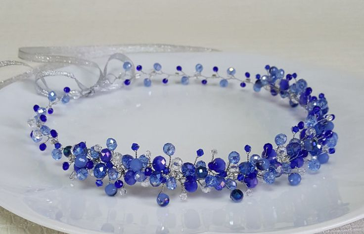 Bridal Royal Blue CrownBridal HeadpieceBlue Crystal от CyShell