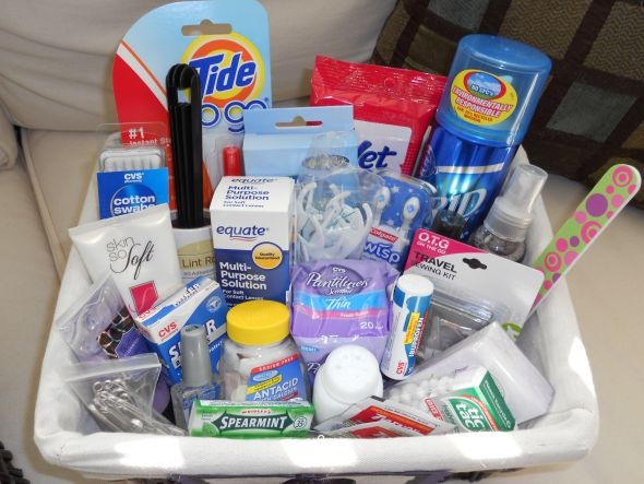 Bathroom Baskets - guest survival kits.  Cute idea if you're going all out...