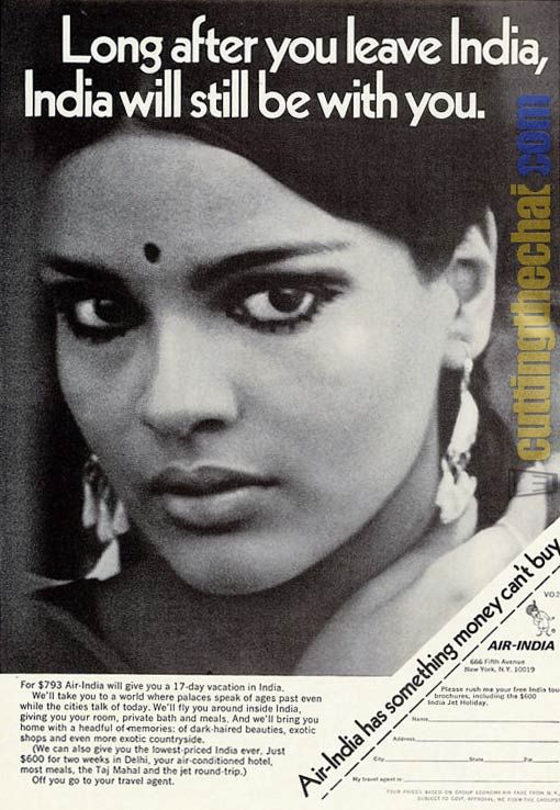 Zeenat Aman as the classic Indian dark-haired beauty in a vintage 1970 Air India advert