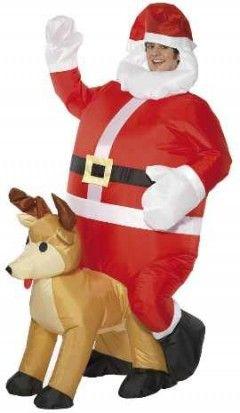 déguisement Père Noël et renne gonflable