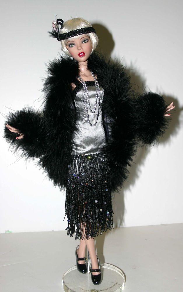 "Roaring Twenties Black & Silver Flapper Outfit for 16"" Deja Vu Dolls Tonner"