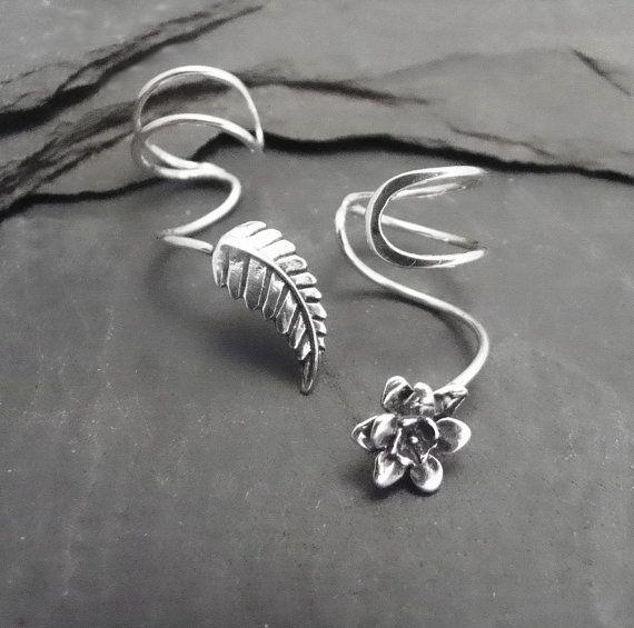 Sterling Ear Cuff Pair PETALS & LEAF Asymmetrical Silver Ear Cuffs