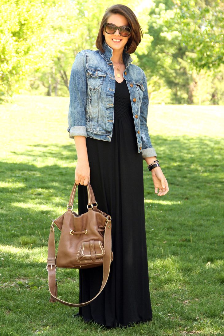 Green dress denim jacket  Black dress t logo  Good style dresses  Pinterest