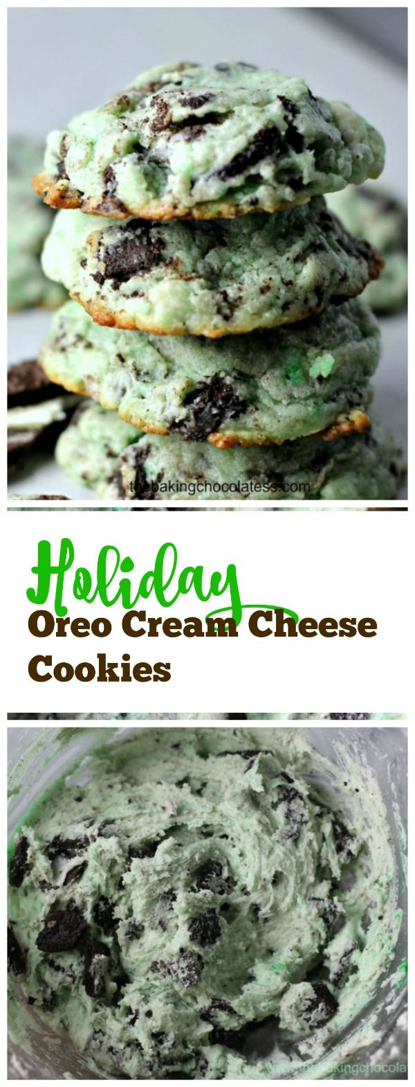 Holiday Oreo Cream Cheese Cookies via @https://www.pinterest.com/BaknChocolaTess/