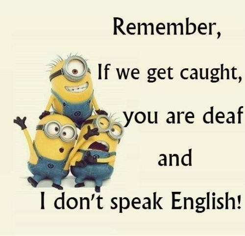 Remember if we get caught you are deaf and i don't speak English