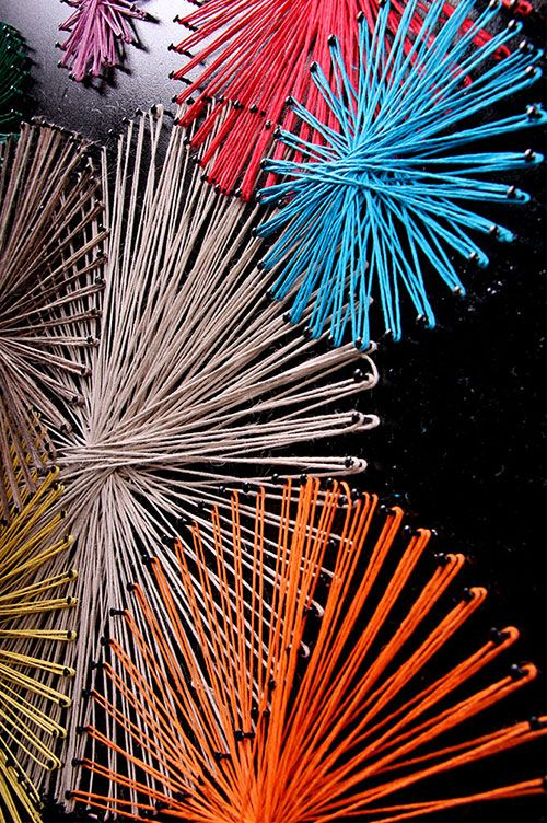 Fireworks Nail String Art This would be perfect over our bed...we went to dinner & a fireworks show on our first date!! HOW have I never thought of this!?!?!