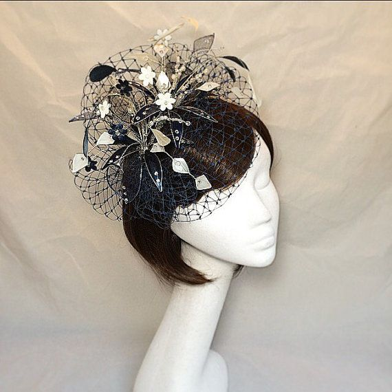 Navy Fascinator Cream navy hat Ascot by themakingboutique on Etsy